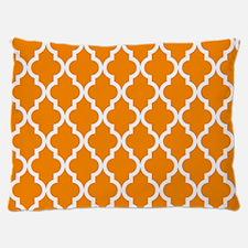 Orange: Quatrefoil Moroccan Pattern Dog Bed