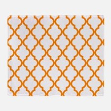 Orange: Quatrefoil Moroccan Pattern Throw Blanket