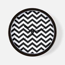 Black & White Chevron Pattern Wall Clock
