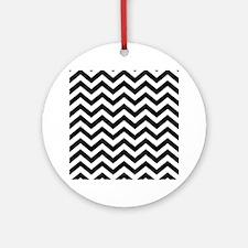 Black: Chevron Pattern Round Ornament