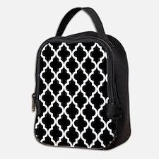 Black: Quatrefoil Moroccan Patt Neoprene Lunch Bag