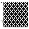 Black: Quatrefoil Moroccan Pattern Shower Curtain