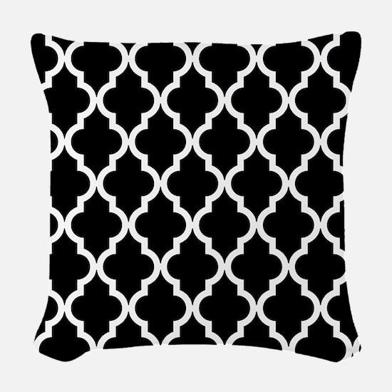 Black: Quatrefoil Moroccan Pat Woven Throw Pillow