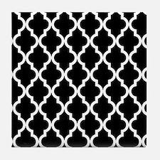 Black: Quatrefoil Moroccan Pattern Tile Coaster