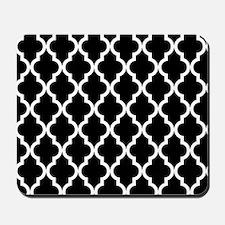 Black: Quatrefoil Moroccan Pattern Mousepad
