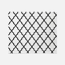 Black: Quatrefoil Moroccan Pattern Throw Blanket