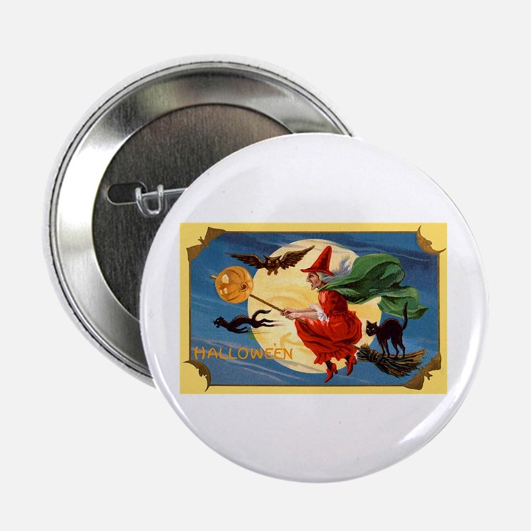 """Halloween Flying Witch 2.25"""" Button (10 pack)"""