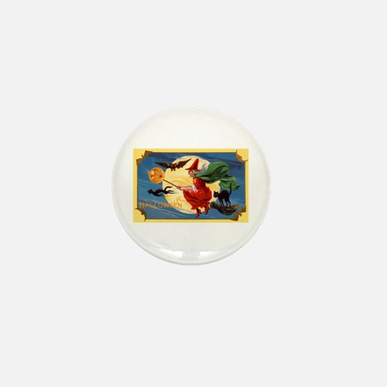 Halloween Flying Witch Mini Button (10 pack)