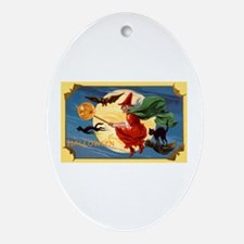 Halloween Flying Witch Oval Ornament