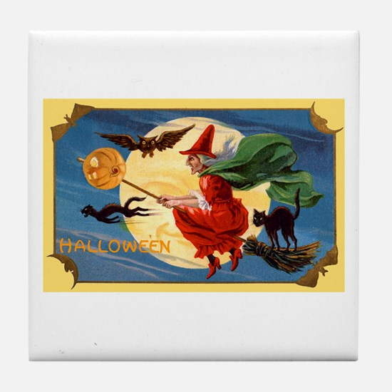Halloween Flying Witch Tile Coaster