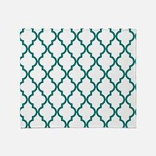 Blue, Teal: Quatrefoil Moroccan Patt Throw Blanket