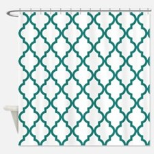 Blue, Teal: Quatrefoil Moroccan Pat Shower Curtain