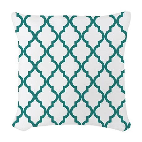 Woven Blue Throw Pillow : Blue, Teal: Quatrefoil Morocca Woven Throw Pillow by Colors_and_Patterns_1