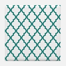 Blue, Teal: Quatrefoil Moroccan Patte Tile Coaster