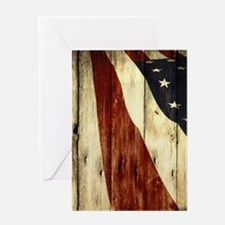 wood grain USA American flag Greeting Cards