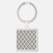 Gray Moroccan Pattern Square Keychain