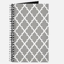 Grey, Fog: Quatrefoil Moroccan Pattern Journal
