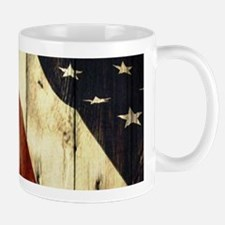 wood grain USA American flag Mugs