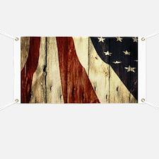 wood grain USA American flag Banner