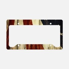wood grain USA American flag License Plate Holder