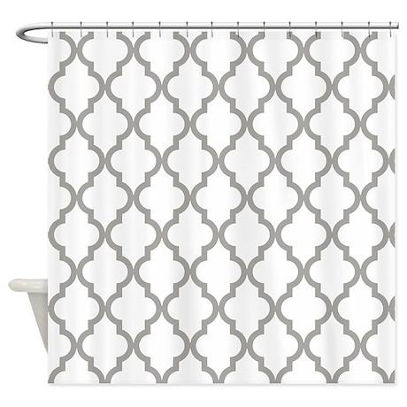 grey fog quatrefoil moroccan patt shower curtain by