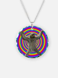 Rainbow Sloth Necklace Circle Charm