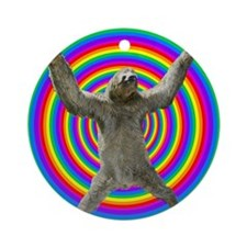 Rainbow Sloth Round Ornament