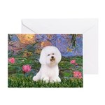 Lilies 4 / Bichon 1 Greeting Card