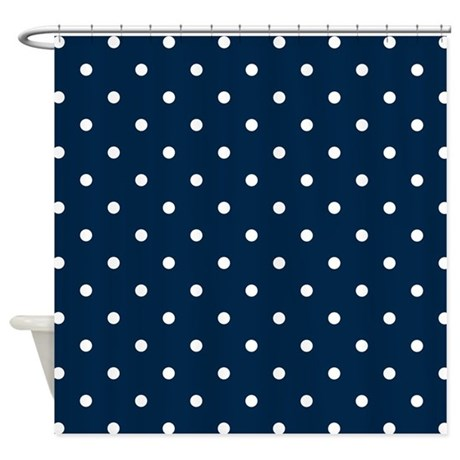 Navy Blue & White Polka Dots Shower Curtain by Colors and