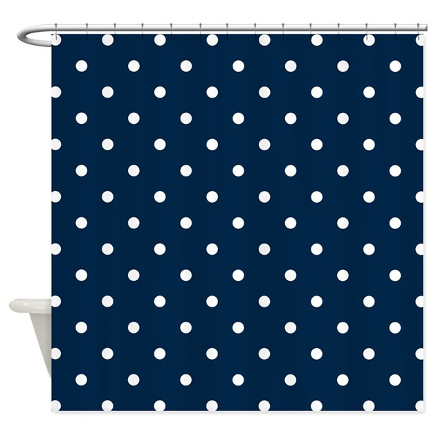 Navy Blue & White Polka Dots Shower Curtain by Colors_and_Patterns