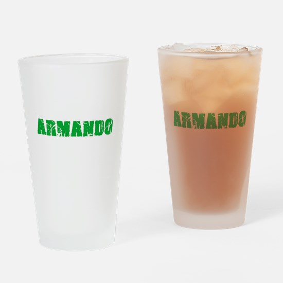 Armando Name Weathered Green Design Drinking Glass