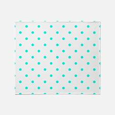 White & Turquoise Polka Dots Throw Blanket