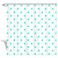 White & Turquoise Polka Dots Shower Curtain