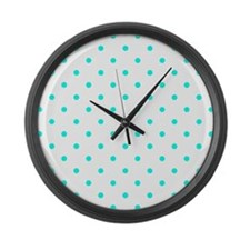 White & Turquoise Polka Dots Large Wall Clock