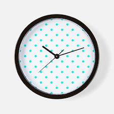 Blue, Turquoise: Polka Dots Pattern (Sm Wall Clock