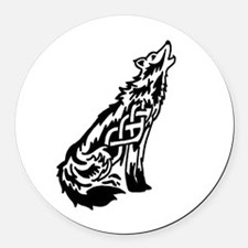 Celtic Knot Wolf Round Car Magnet