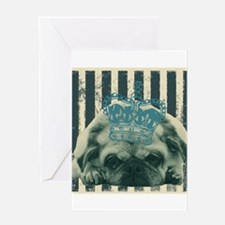 cute puppy funny pug Greeting Cards
