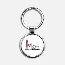 I Love London Round Keychain