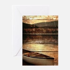 rustic country lake canoe Greeting Cards