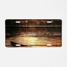 rustic country lake canoe Aluminum License Plate