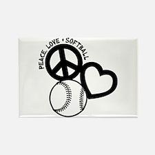 PEACE-LOVE-SOFTBALL Rectangle Magnet