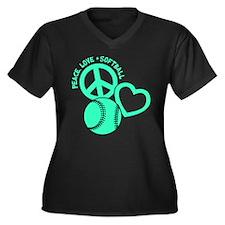 PEACE-LOVE-S Women's Plus Size V-Neck Dark T-Shirt