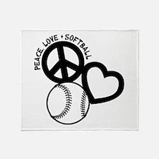 PEACE-LOVE-SOFTBALL Throw Blanket