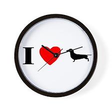 I Heart Dachshund Wall Clock