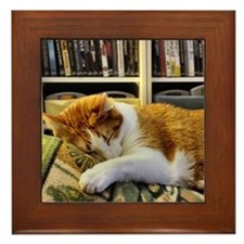 Cute Cat cup Framed Tile