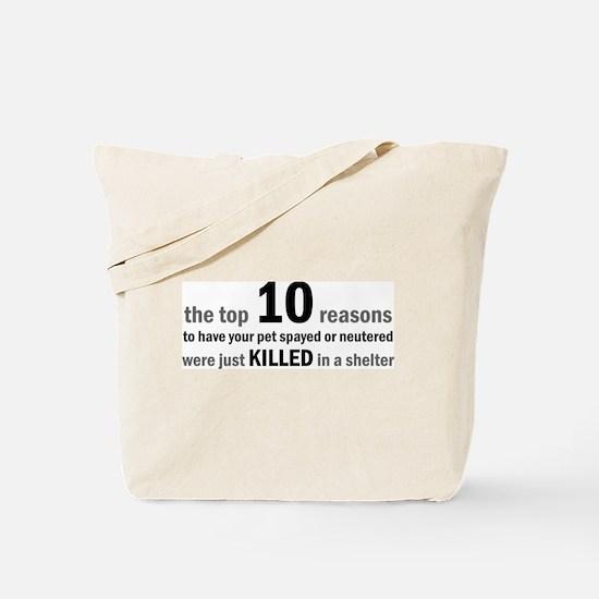 10 Reasons to Spay/Neuter Tote Bag