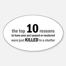10 Reasons to Spay/Neuter Oval Decal
