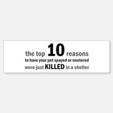 10 Reasons to Spay/Neuter Bumper Bumper Bumper Sticker