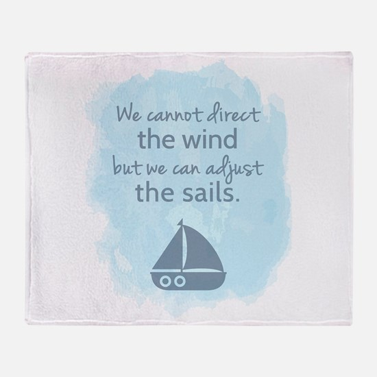 Nautical Sail boat Mentality Quote Throw Blanket