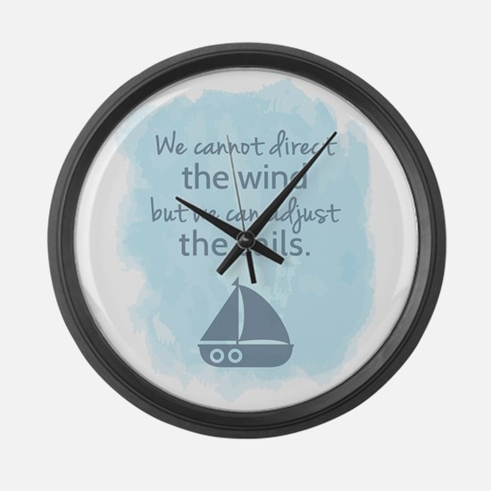 Nautical Sail boat Mentality Quote Large Wall Cloc